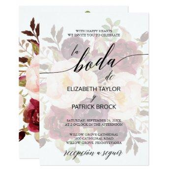 elegant calligraphy | faded floral spanish wedding invitation