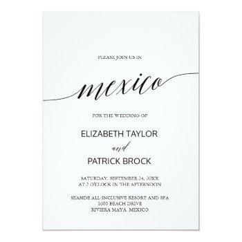 elegant calligraphy mexico destination wedding invitation