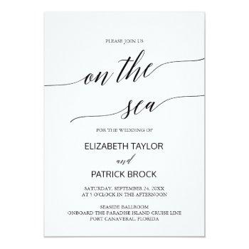 elegant calligraphy on the sea cruise wedding invitation