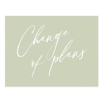 elegant, calligraphy, simple, change of plans post postcard