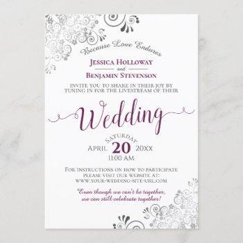 elegant cassis on white wedding livestream invitation