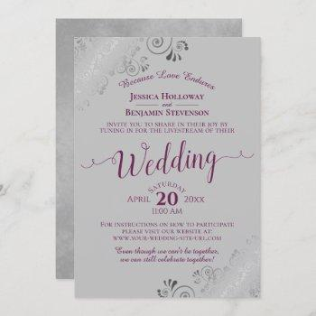 elegant cassis purple on gray wedding livestream invitation