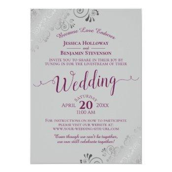 Small Elegant Cassis Purple On Gray Wedding Livestream Invitation Front View