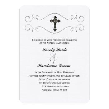 elegant celtic cross catholic wedding invitation