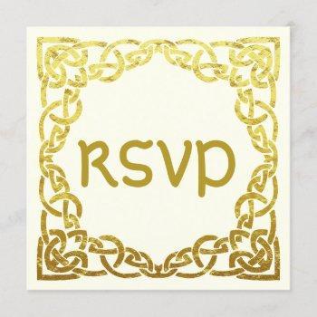 elegant celtic wedding  faux gold celtic knot rsvp invitation