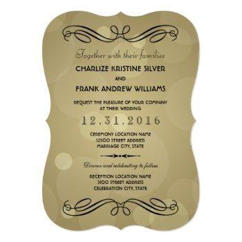 elegant champagne gold and black wedding invitation