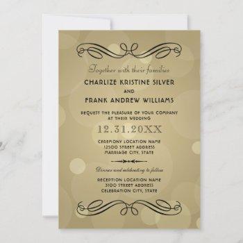 elegant champagne gold and black wedding invitation