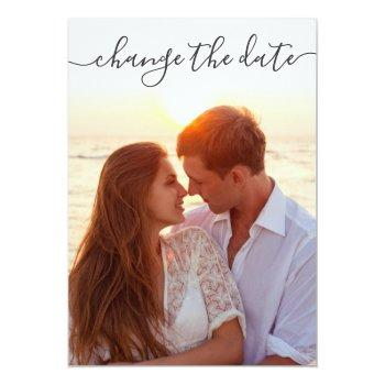 Small Elegant Change The Date Postponed Photo Wedding Invitation Front View