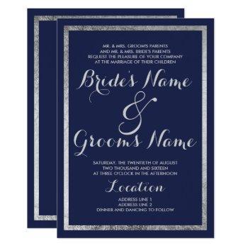 elegant chic modern navy blue faux silver wedding invitation