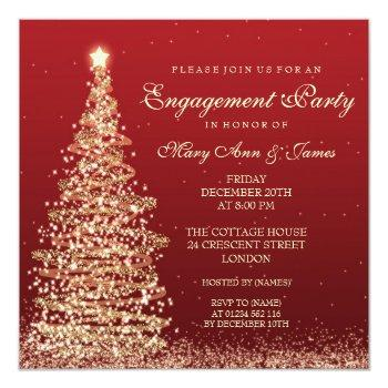 elegant christmas engagement party red gold invitation