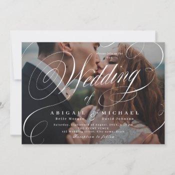 elegant classic calligraphy photo wedding  invitat invitation