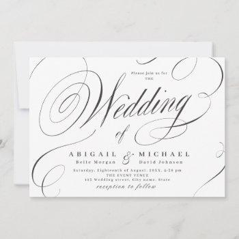 elegant classic calligraphy vintage wedding  invitation