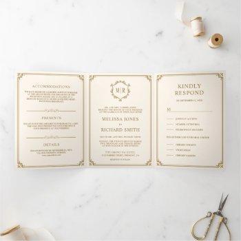elegant classic cream and gold monogram wedding tri-fold invitation