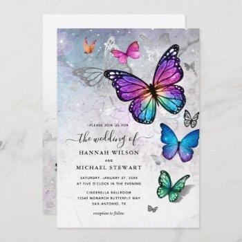 elegant colorful butterfly wedding invitation