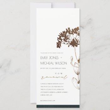 elegant copper foil hydrangea floral vow renewal invitation