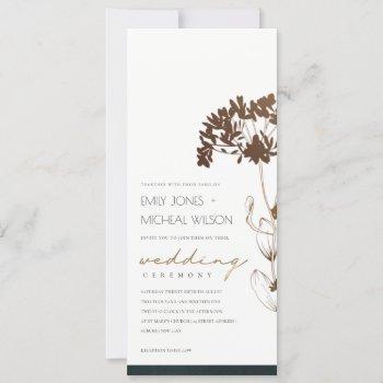 elegant copper foil hydrangea floral wedding invitation