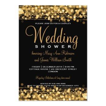 elegant couples shower party sparkles gold invitation