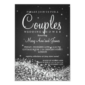 elegant couples shower sparkling wave black invitation