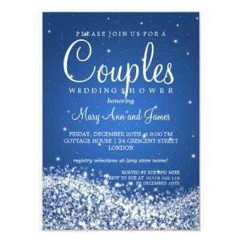 elegant couples shower sparkling wave blue invitation