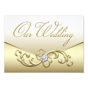 elegant cream and gold diamond wedding invitations