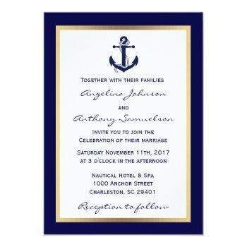 elegant custom navy blue nautical wedding invites