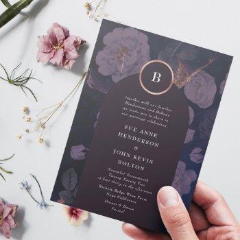 elegant dark boho floral arch rose gold wedding invitation