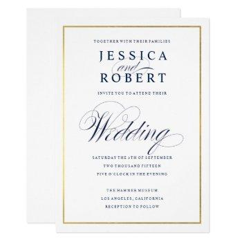 elegant dark navy faux gold border wedding invitation