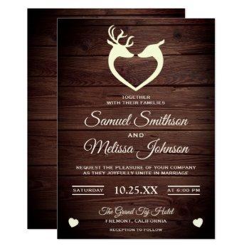 elegant deer heart rustic wood wedding invitation
