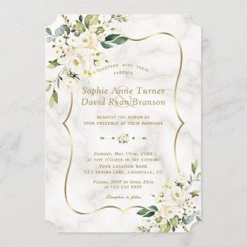 elegant delicate white flowers gold marble wedding invitation