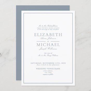 elegant dusty blue classic script wedding invitation