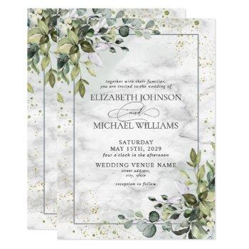 elegant dusty blue eycalyptus greenery marble invitation