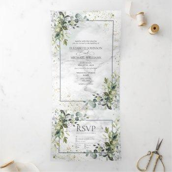 elegant dusty blue eycalyptus greenery marble tri-fold invitation