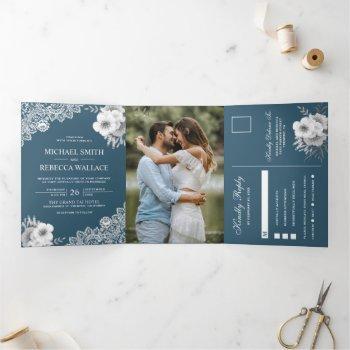 elegant dusty blue floral lace wedding photo tri-fold invitation