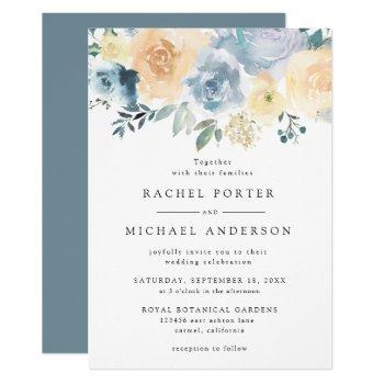 elegant dusty blue peach floral rustic wedding invitation