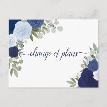 elegant dusty blue roses change of wedding plans announcement postcard