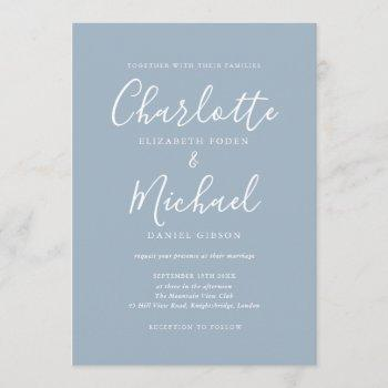 elegant dusty blue signature wedding invitation