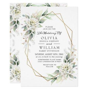 elegant dusty blue watercolor greenery wedding invitation
