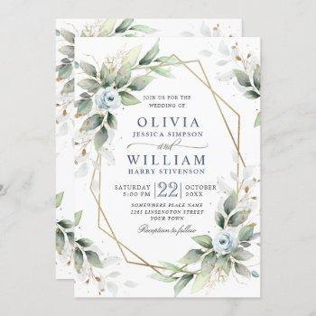 elegant dusty blue watercolor greenery wedding invitation