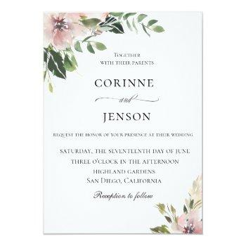 elegant dusty mauve botanical wedding invitation