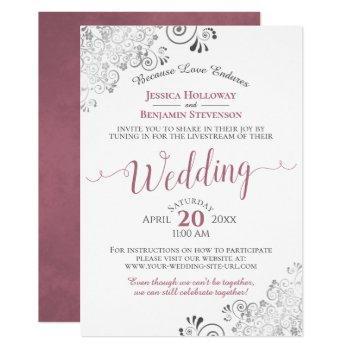 elegant dusty rose on white wedding livestream invitation