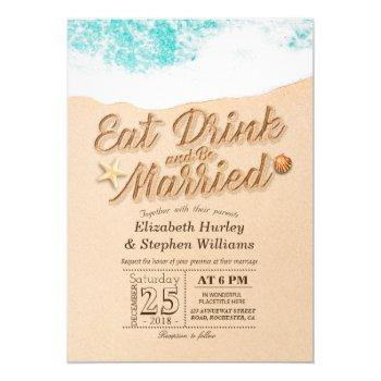 elegant eat drink be married summer beach wedding invitation