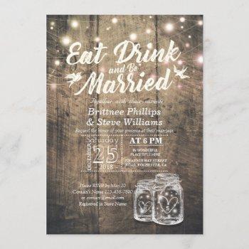 elegant eat drink & be married wedding invitations