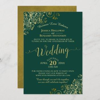 elegant emerald green & gold wedding livestream invitation