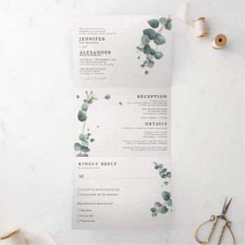 elegant eucalyptus all in one wedding tri-fold invitation