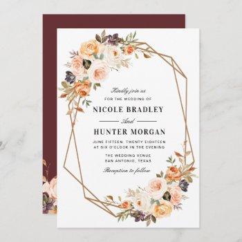 elegant fall floral geometric wedding invitation