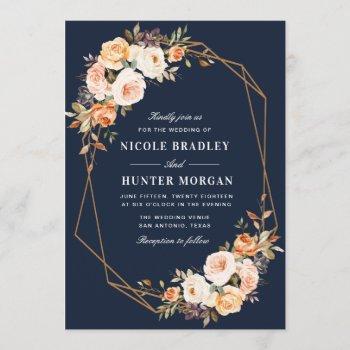 elegant fall floral navy blue geometric wedding invitation