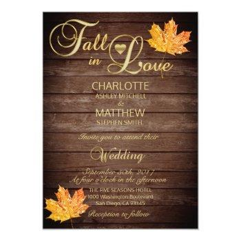 Small Elegant Fall In Love Rustic Wood Wedding Invitation Front View