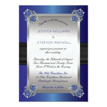 Small Elegant Faux Diamonds Sapphire Clasps Blue Wedding Invitation Front View