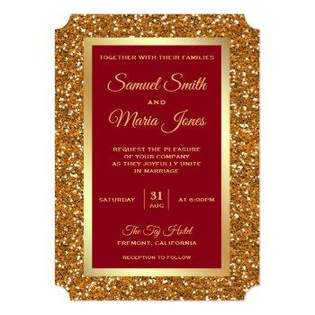 elegant faux gold foil glitter maroon red wedding invitation