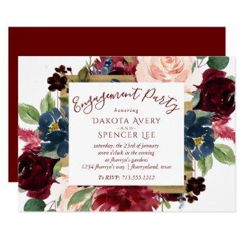 elegant floral | burgundy marsala red engagement invitation